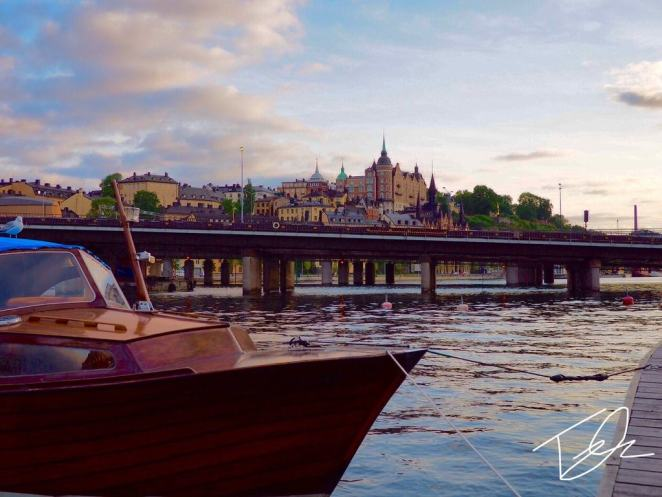 A view of the stockholm city skyline with boat in view. Sweden