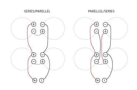 Series Vs. Parellel 4 x speaker wiring comparison clips
