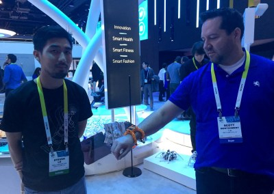 CES 2015 | Steven Le shows TYM's Scott Montgomery the Nixie Wrist-worn Camera Drone