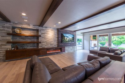 "Boise home remodel | Video Distribution, 80"" Sharp TV with SANUS Mount, Home Audio, Savant Automation 