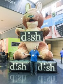 Greg Montgomery posing with Dish's Joey for his girls, CEDIA 2015