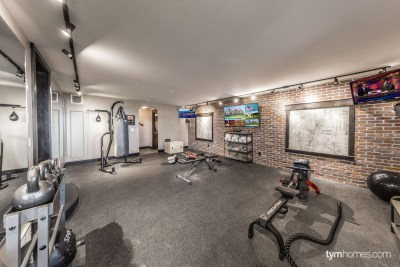 home gym with home audio, video distribution, video tiling, and automation by Savant, 2015 Utah Valley Parade of Homes