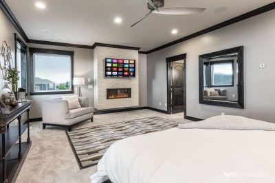 Master suite with home audio, 4K Samsung TV, climate control, lighting control, home automation by Savant, 2015 Utah Valley Parade of Homes