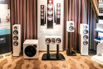 Paradigm white gloss Prestige speakers CES 2016, Salt Lake City, Ut