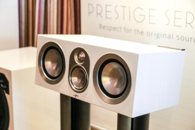 Paradigm Prestige speakers in white gloss CES 2016, Salt Lake City, Ut