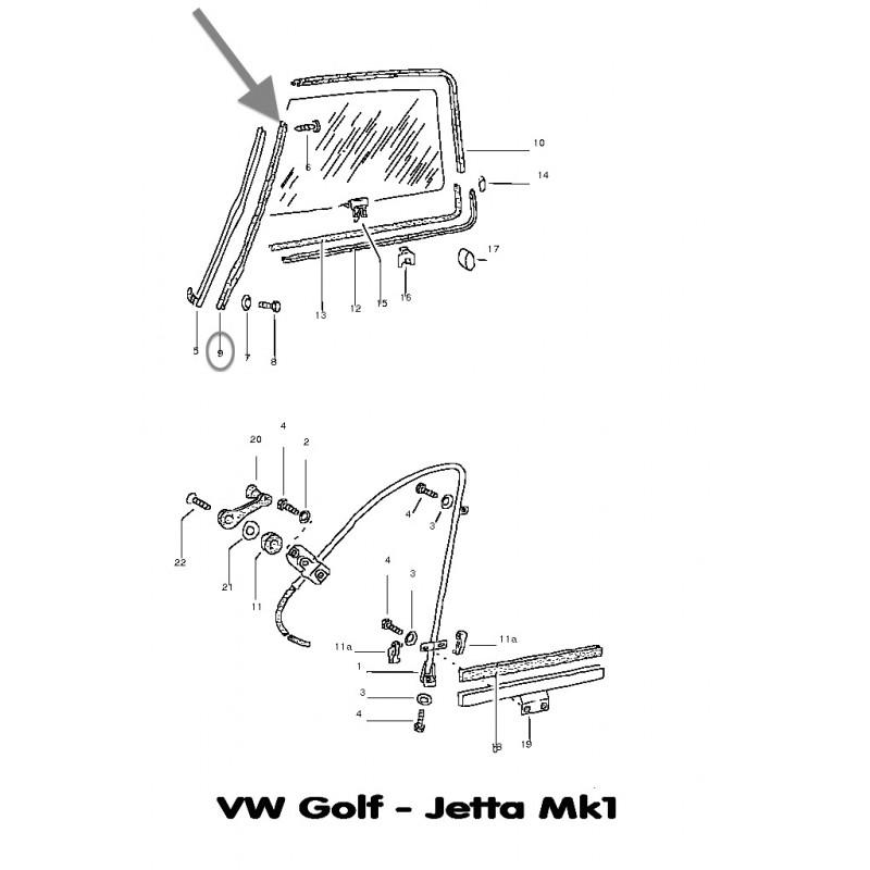 Joint coulisseau vitre porte avant VW Bus T3 & Golf Mk1