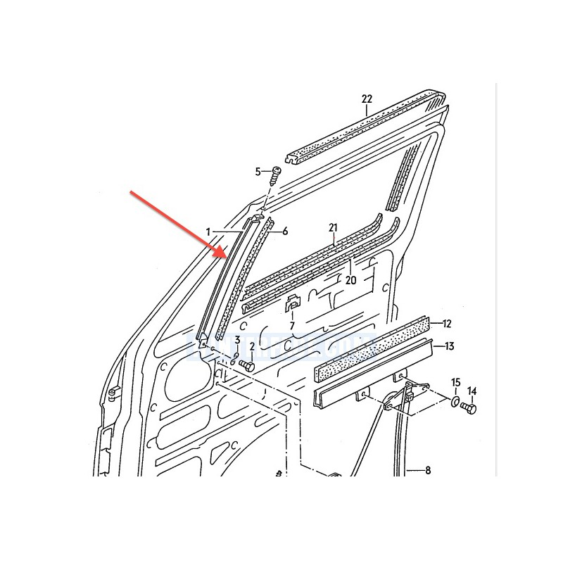 Metal channel glass guide front doors for VW Bus T3