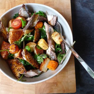Hot mackerel and roast potato salad