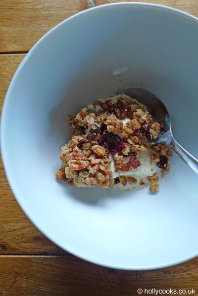 Holly-cooks-maple-cranberry-pecan-muesli-bars-recipe-on-top-of-ice-cream