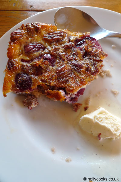 Holly-cooks-cherry-and-pecan-clafoutis-recipe-with-ice-cream