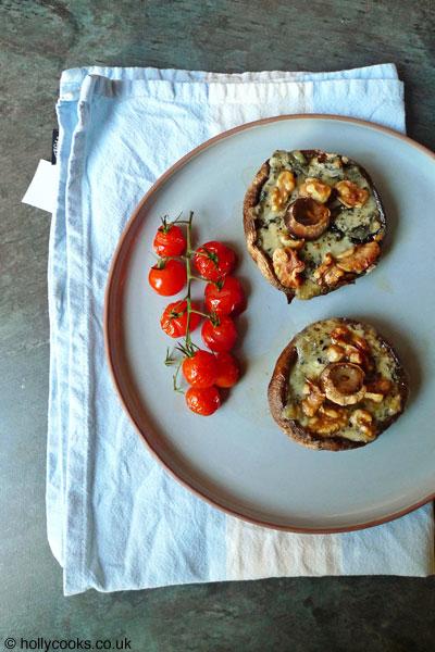 Holly-cooks-portobello-mushrooms-with-gorgonzola-and-walnuts