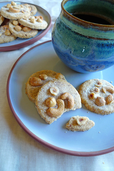 Type 1 Kitchencashew and hazelnut shortbread with blue mug