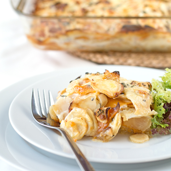 sweet potato and parsnip gratin