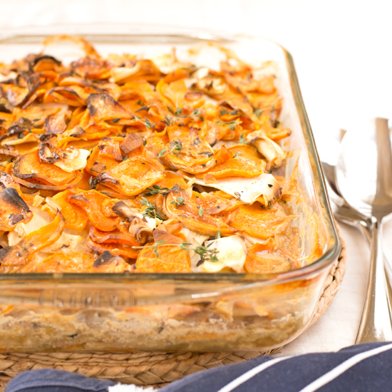 sweet potato and celeriac gratin