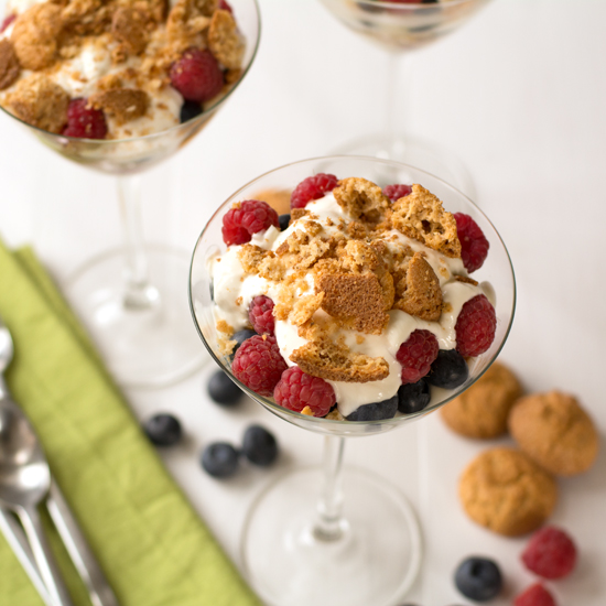 Summer fruits with Amaretti and Greek yoghurt