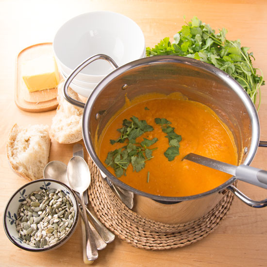 Holly-cooks-Sweet-potato-roasted-cherry-tomato-and-coconut-soup-in-saucepan