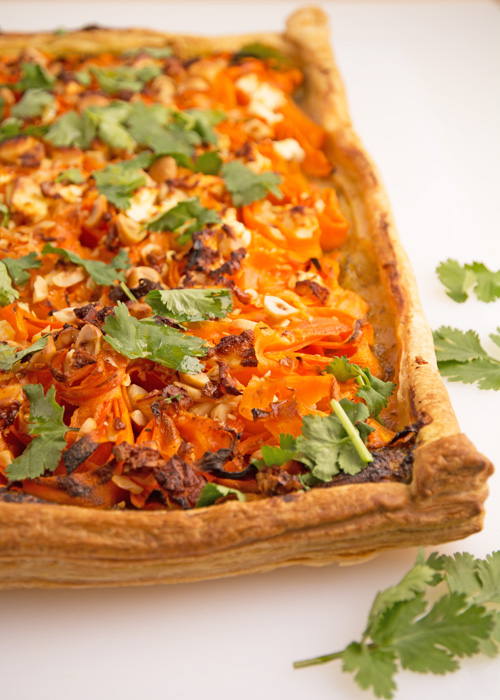 roasted carrot and hazelnut tart