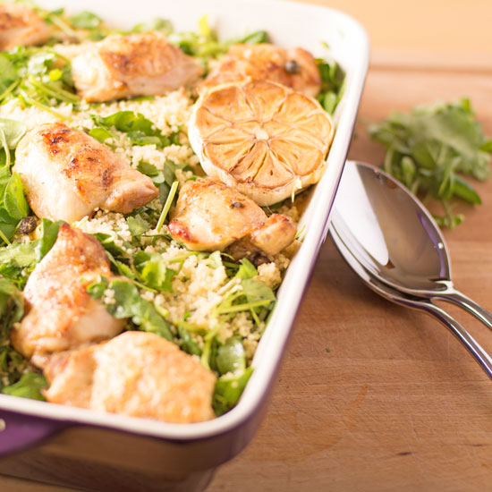 Holly-Cooks-roast-chicken-with-watercress-and-coriander-in-oven-dish550