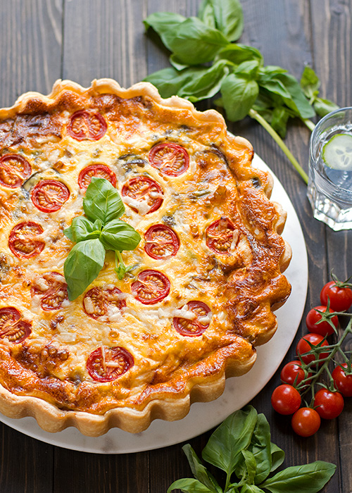 parmesan red onion and tomato tart