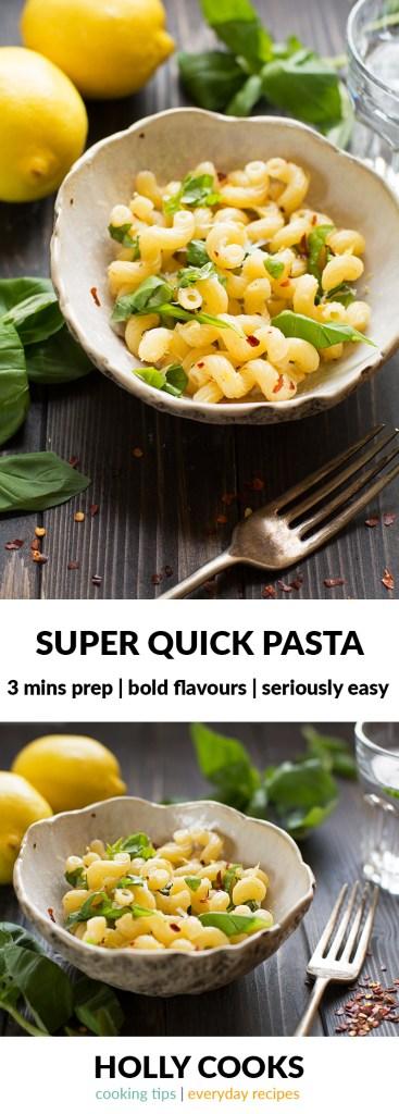 Super quick pasta   hollycooks.co.uk   quick pasta   3 mins prep   bold flavours   seriously easy   quick pasta   lemon zest   chilli   basil   parmesan   pasta  