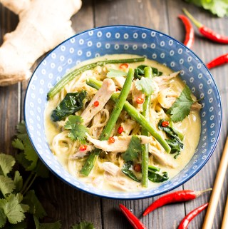 One pot chicken Thai noodle soup