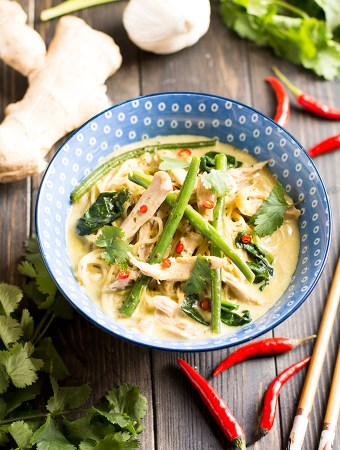 One pot Chicken Thai Noodle Soup Portrait