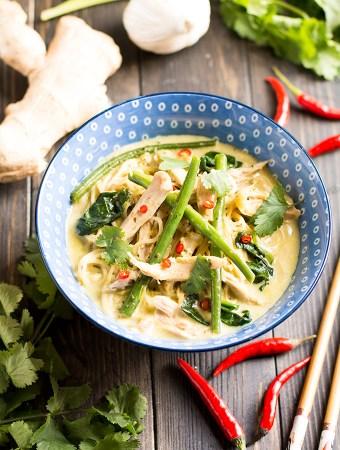 One pot Chicken Thai Noodle Soup Portrait