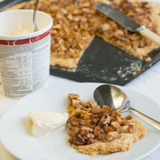Apple, walnut and candid peel tart
