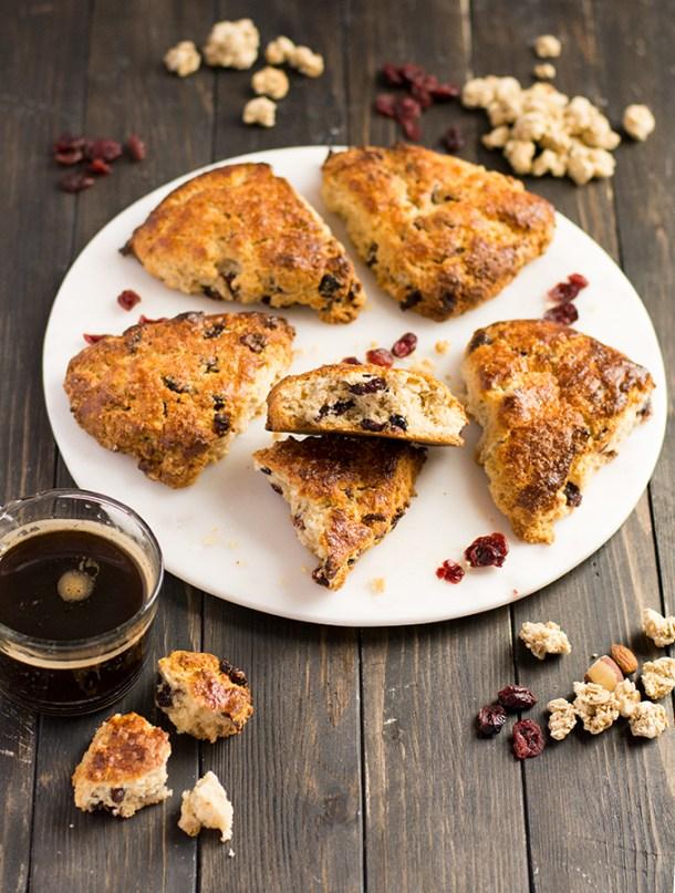 Cranberry and granola scones