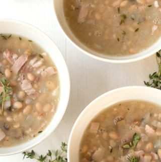 Chestnut, bean and bacon soup