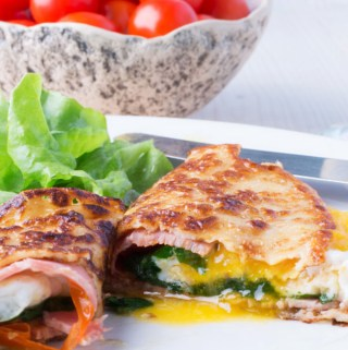 Crepes with ham, cheese and cherry tomatoes