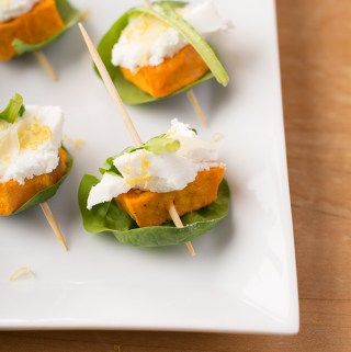 Sweet potato, goats cheese, ginger and spinach canapés