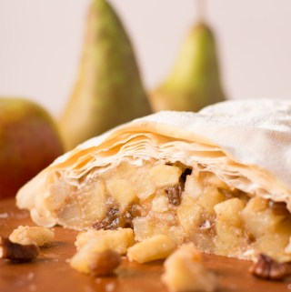 Pear and pecan strudel