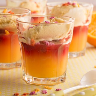 Raspberry and orange jellies with vanilla ice cream – great to cook with a child