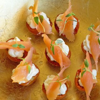 Moonblush tomato and smoked salmon canapés