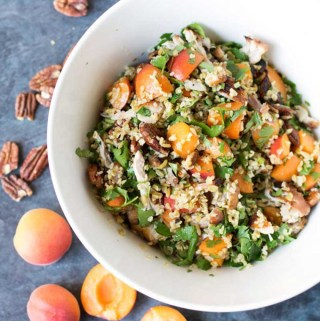 Apricot, chicken and freekeh salad