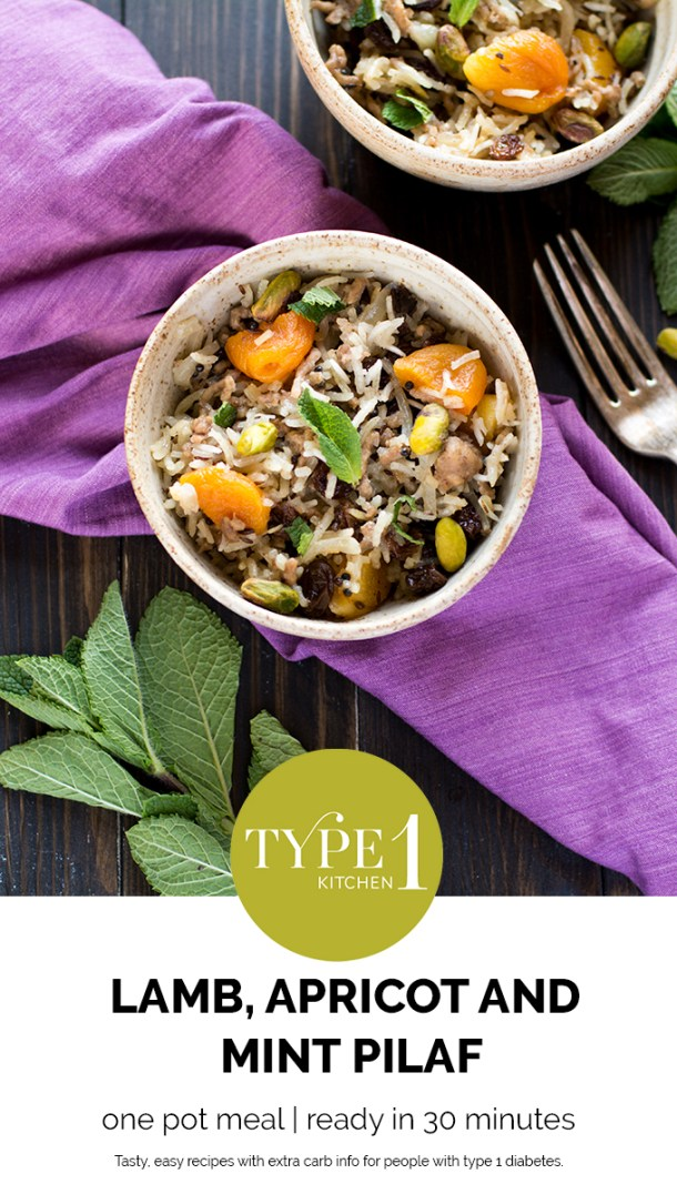 Lamb apricot and mint pilaf, one pot meal, ready in 30 minutes, recipe for 4, dinner for 4, lamb for 4, pilaf, easy pilaf, quick pilaf, easy rice, easy dinner,