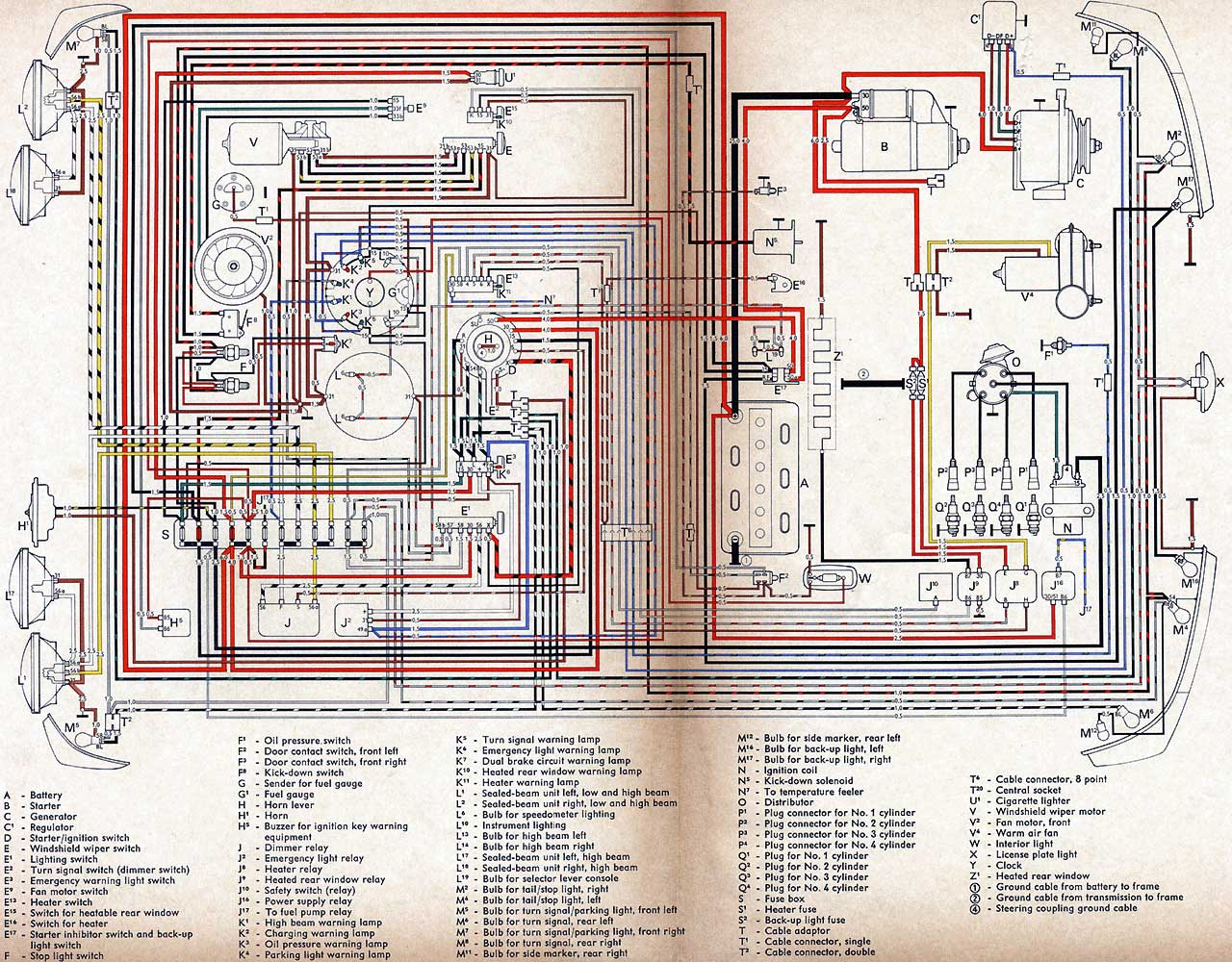 1970 vw type 2 wiring diagram simple thermostat diagrams  type4 org