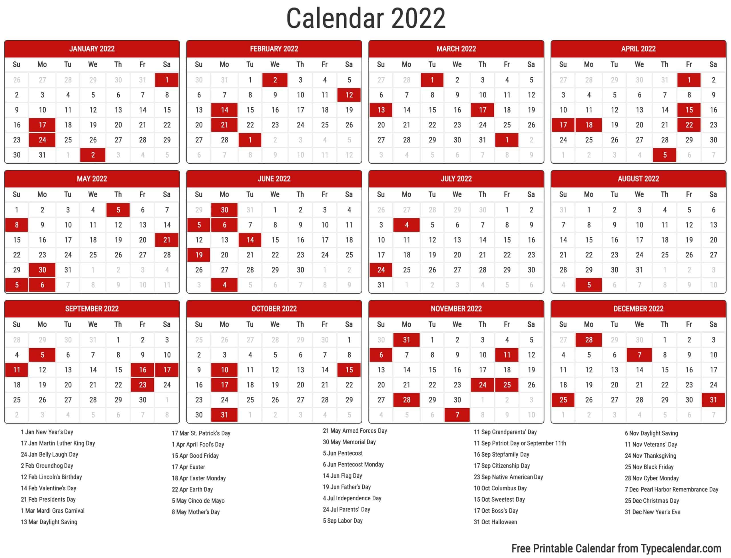 Quickly print a blank yearly 2022 calendar for your fridge desk planner or wall using one of our pdfs or images. Free Printable Year 2022 Calendar | Type Calendar