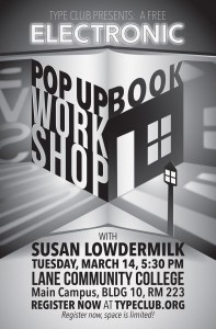 Poster for Type Club's Free Electronic Popup Book Workshop