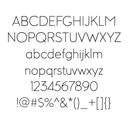 Columbia Gorgeous Light Font Character Set Example