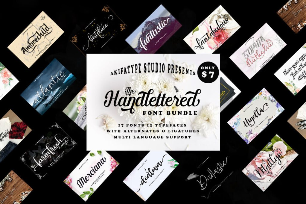 The hand-lettered Font Bundle of 17 Romantic Script Fonts