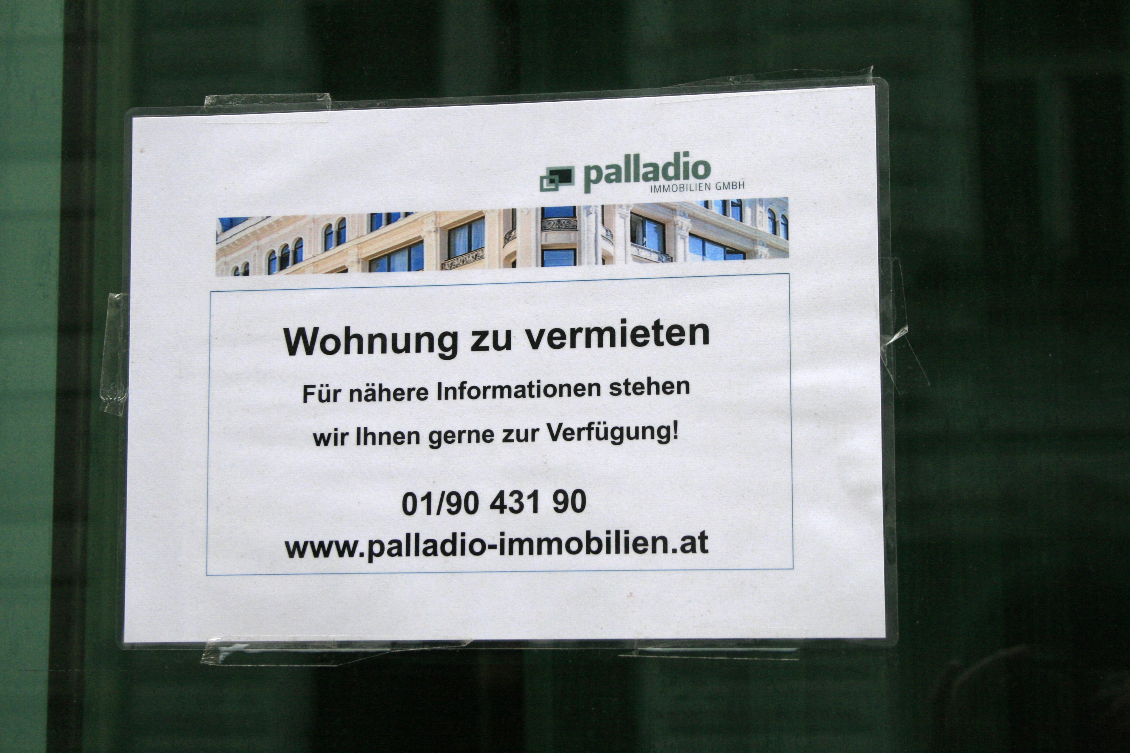 Aushang Wohnung zu vermieten  Typemuseum