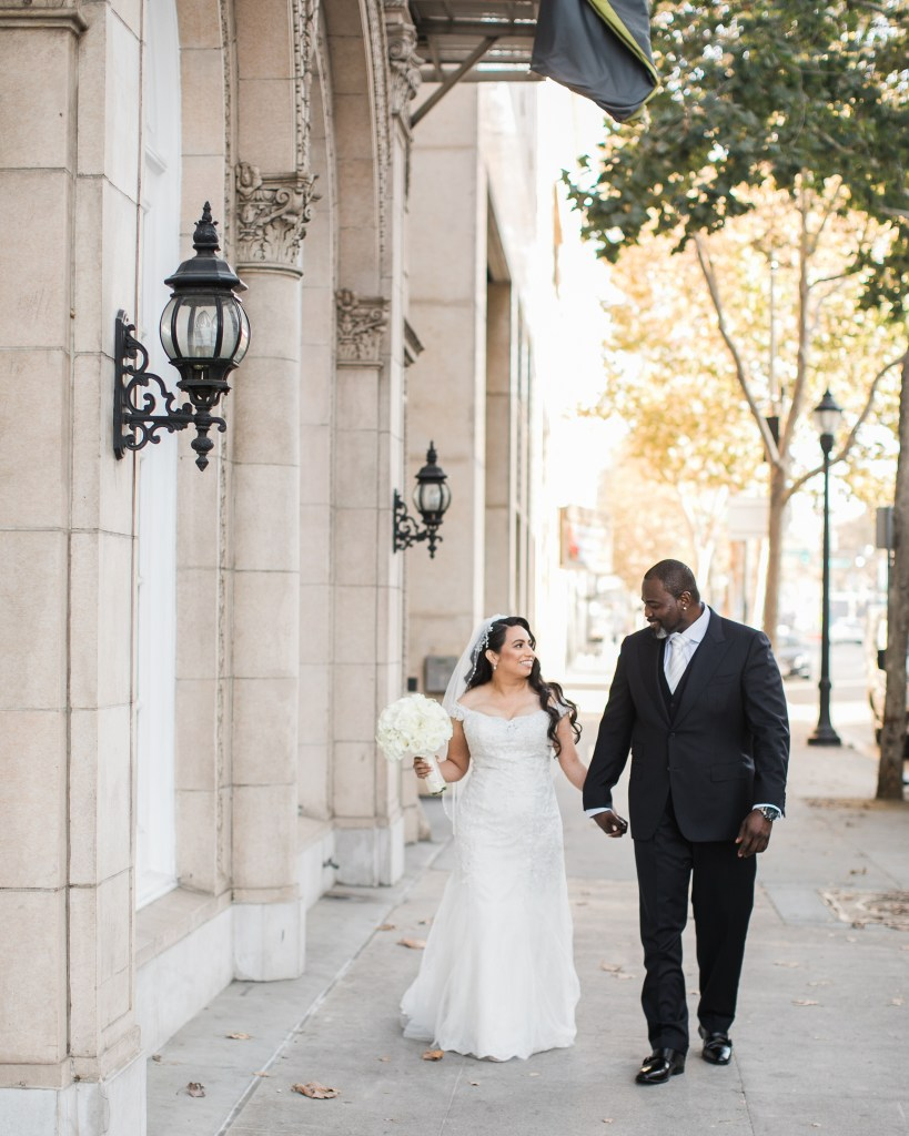 bride and groom go for a walk before their wedding at The Westin San Jose