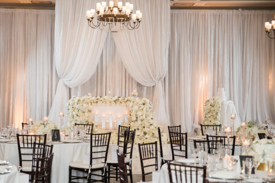 light and airy classic ivory reception details at a wedding at The Westin San Jose