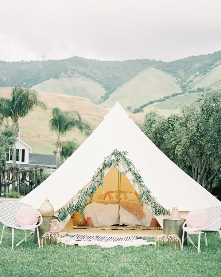 wedding planning tips: unique decor like this glamping tent