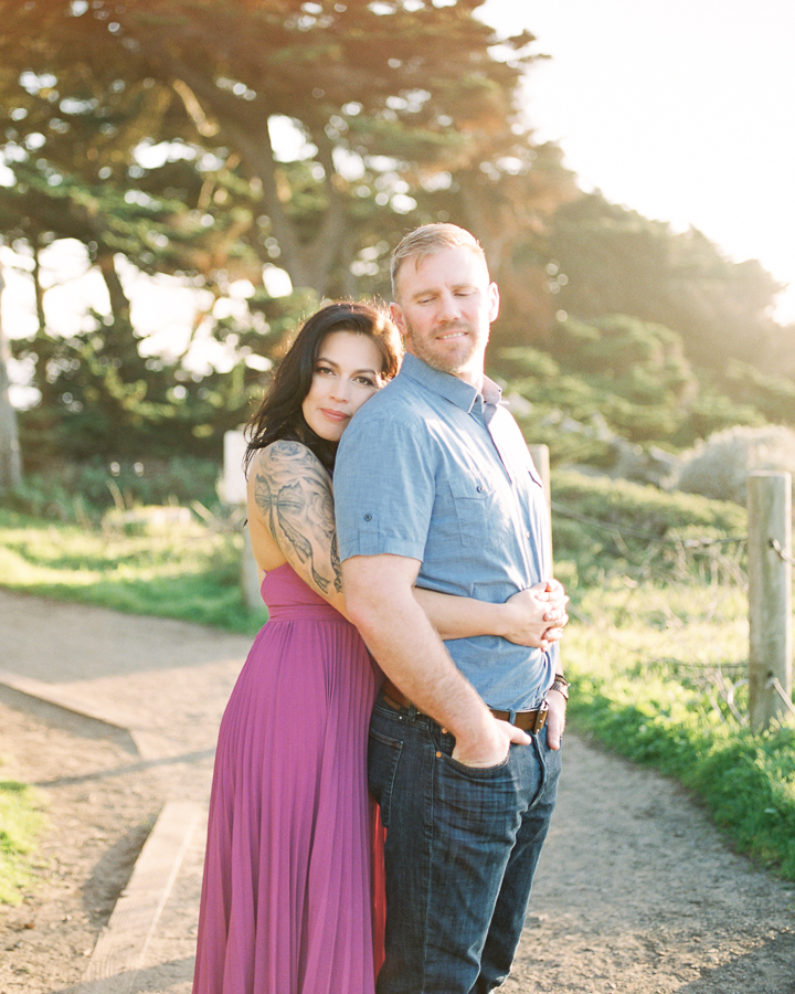 golden hour engagement photos at Sutro Baths