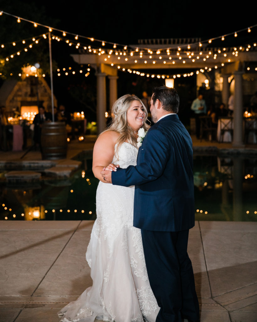 first dance for a bride and groom during their intimate estate wedding reception