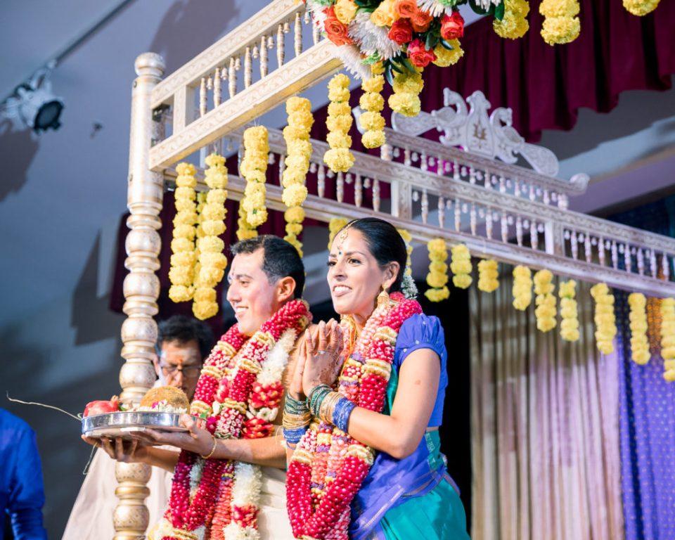 Couple celebrating their traditional Hindu wedding celebration