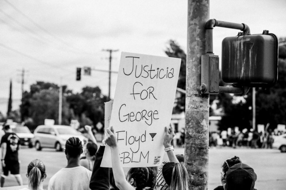 Justice for George Floyd sign at a peaceful protest in Tracy, CA